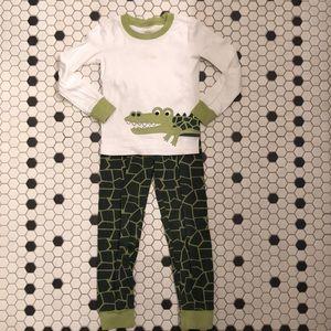 GYMBOREE 100% Cotton Pajamas Boy's 6 Green Gator